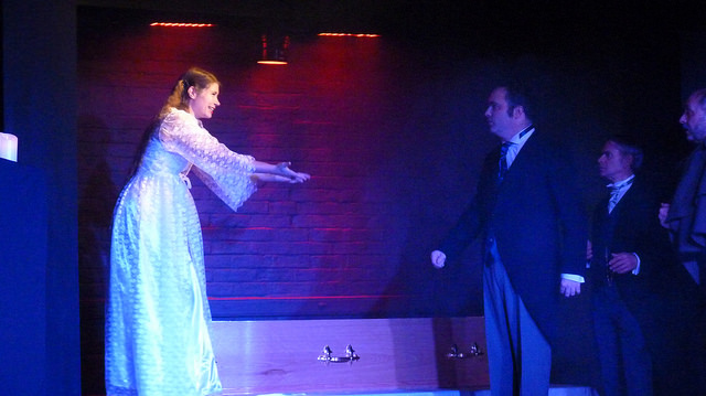 Jennifer Prior in her Lucy Westonra role. Arthur is played by Matt Martin (right).