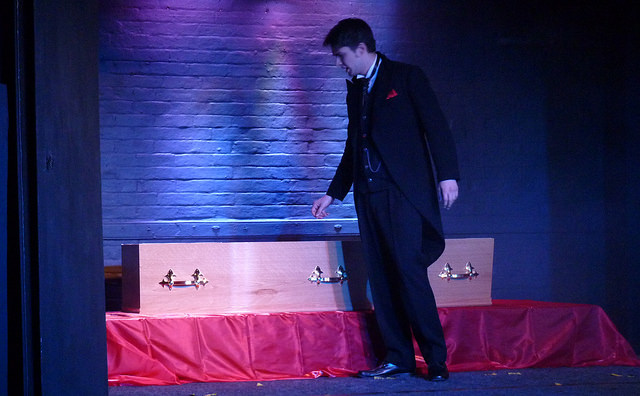 Jonathan Harker (played by Paul Jones) approaching the coffin, in Dracula, the Chameleons' production.