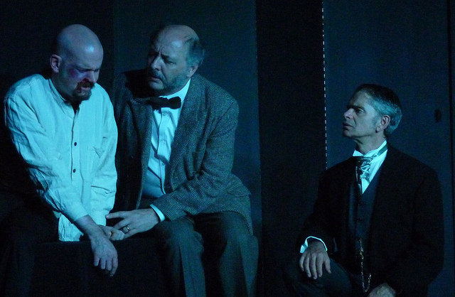 (Left to right): Renfield is played by Matthew Meehan, Prof. Van Helsing by Wayne Bradshaw, and Doctor Seward by Stuart Wineberg.