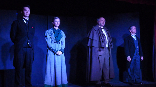 Dracula - lots of scene changes and narratives. (Left to right): Jonathan Harker (Paul Jones), Mina Harker (Lisa Dunbar), Prof. Van Helsing (Wayne Bradshaw), and Doctor Seward (Stuart Wineberg).