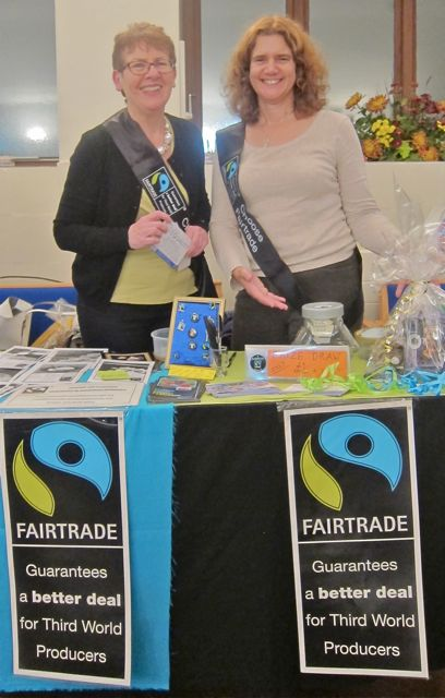 Councillor Louise Bloom (right) and Liz, of  Fairtrade in Eastleigh Borough campaign.