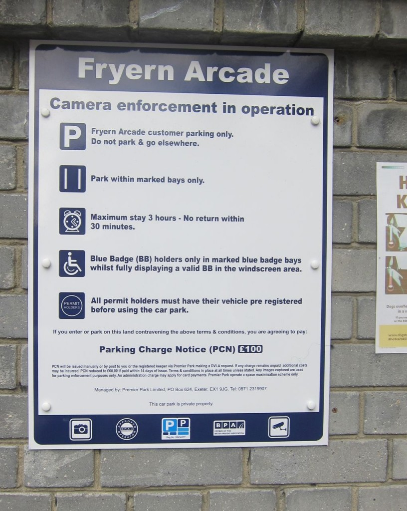 Parking rules at the Fryern Arcade in Chandler's Ford.
