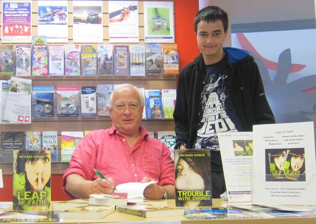 Author Richard Hardie with me - book signing and author talk at Chandler's Ford Library.