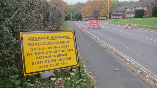 Road closure Hiltingbury Road