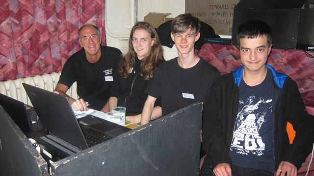 Technical team: (from left to right): Lionel Elliott, Rebecca Nye, Sam Hemley, and Ben Williams.