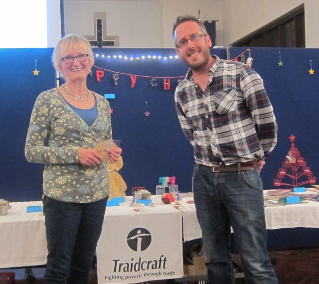 Fairtrade event organiser Tricia Urquhart, with Paul Smith, Youth Minister of Chandler's Ford Parish Church.
