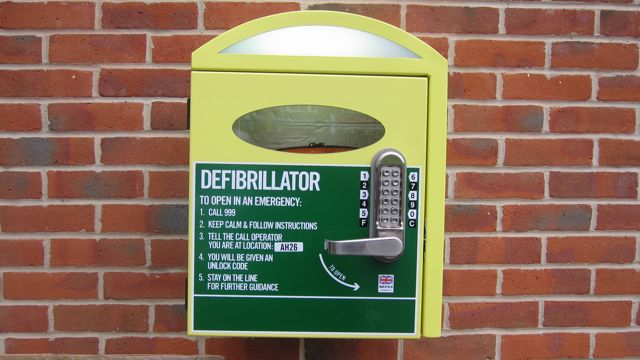 Dial 999 first to gain access to the defibrillator.