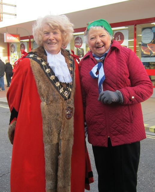 Mayor of Eastleigh Councillor Jane Welsh and Lyn Darbyshire MBE - at Eastleigh's Christmas Light Switch On day 2015.