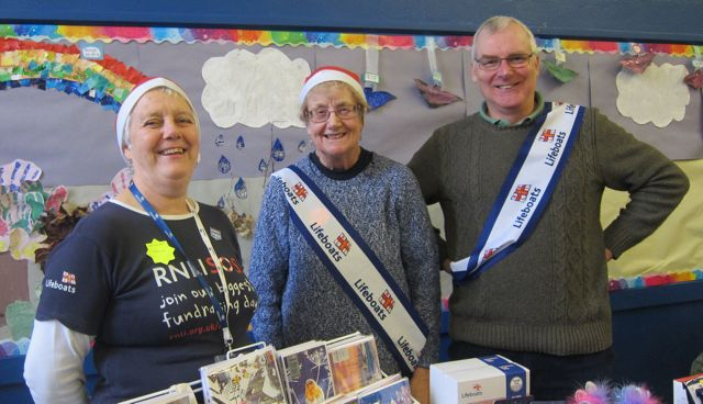 Volunteers from RNLI: (from the left): Caroline Tilley, Gill Herbert, Michael Kirtley.