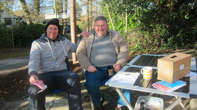 Organiser Steve Allen (left) with his friend Terry welcome visitors to the market. Each visitor is given a free raffle ticket.