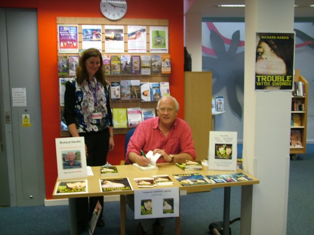 Richard at his talks at Chandler's Ford Library. On the left is Radka Ford, Assistant Library Manager.
