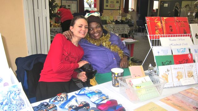Sarah Jane Brain (left) and Pauline Wilson - special friendship with their handmade cards and craft.