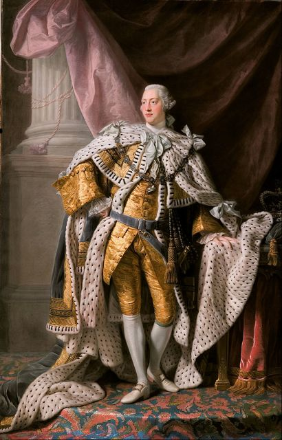 King George III in coronation robes. Allan Ramsay [Public domain], via Wikimedia Commons.