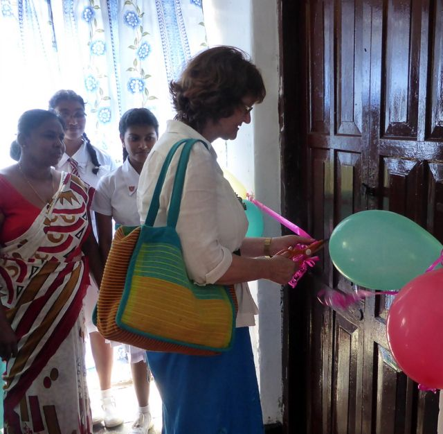 Brenda opened a school library in Sri Lanka.