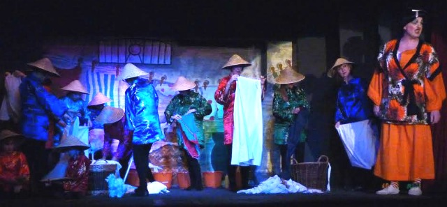 Aladdin - pantomime performed by Chandler's Ford Chameleon Theatre Company, January 2016. A street in Peking.