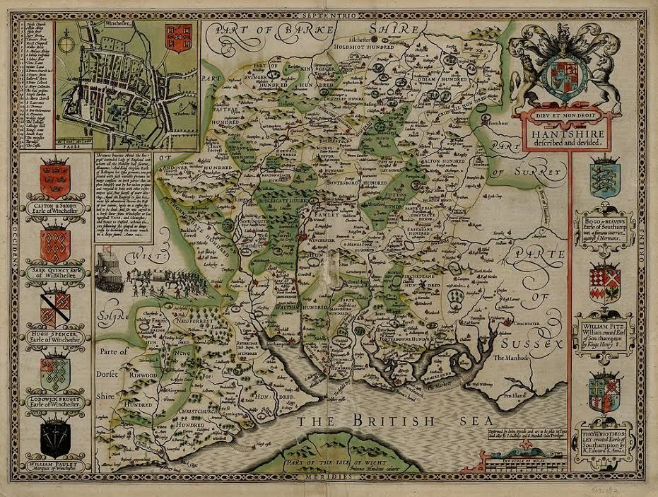 The famous John Speed map of Hampshire
