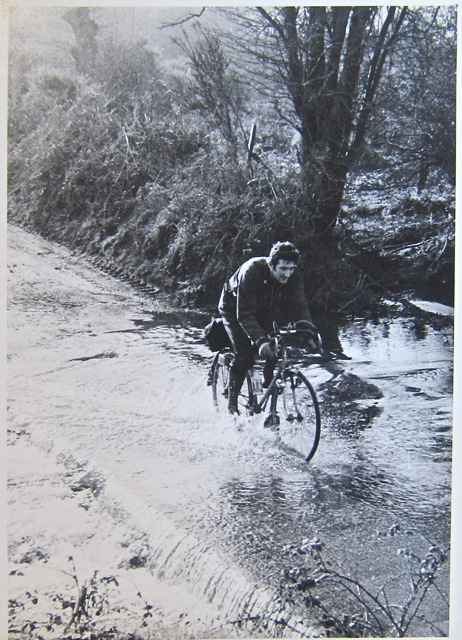 Martin Napier crossing the Ford near Plaitford winter 1970-71. J Love photographer.