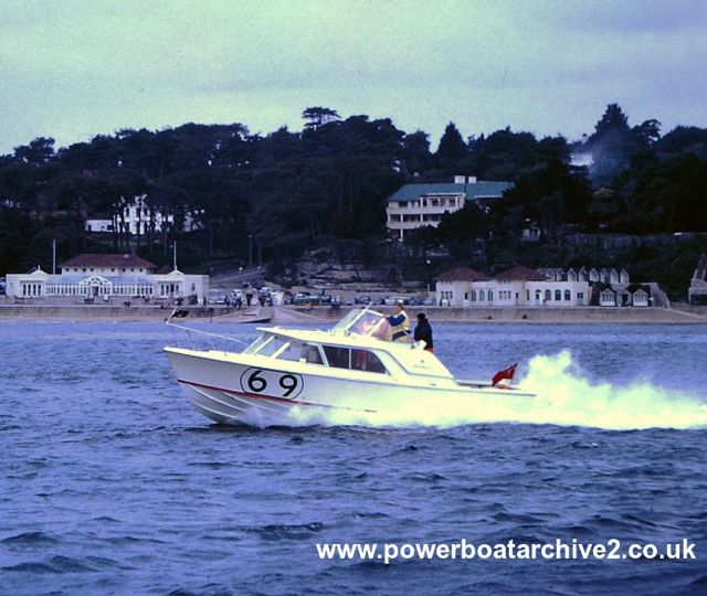 "Boat No 69 is Chassaur. It was sixth in that first race I saw in 1963. Image via <a href=""http://www.powerboatarchive2.co.uk/"">Powerboat Archive</a>, Graham Stevens."