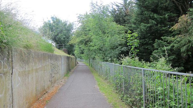 This narrow path behind the Central Precinct is to be shared by cyclists, pedestrians, and dogs.