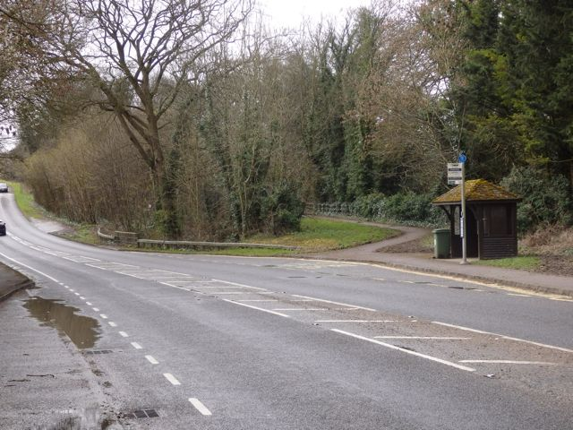 At Compton, the pathway running to the right behind the bus stop is the course of the slip road from the A33.