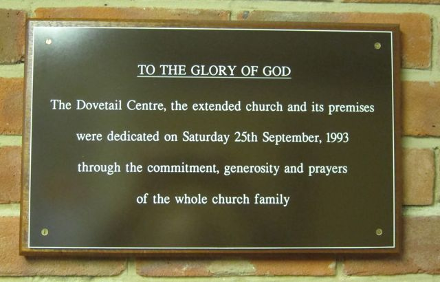 A plaque about history of Dovetail Centre at the Methodist Centre in Chandler's Ford.