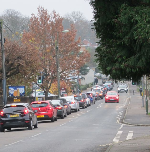 Hursley Road Chandler's Ford rush hour traffic