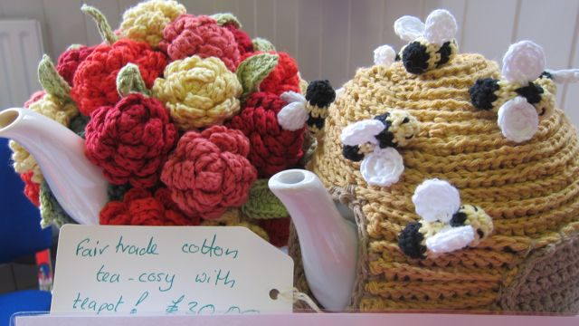 The loveliest tea cosy may make your tea taste better. Crocheted by Jane Duxbury.