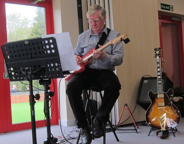 Musician David Tripp playing jazz at Fryern Pavilion. Fryern Funtasia 2016