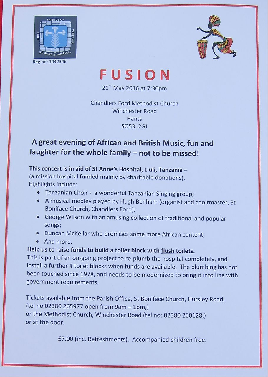 Fusion concert 21st May 2016 at Chandler's Ford Methodist Church in aid of St. Anne's Hospital in Liuli.