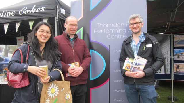 Thornden Hall manager Neil Daykin (right) with visitors.