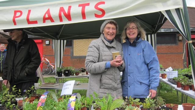 Viv Overstall (right) and Pauline Cooke helping with the plant stall. Fryern Funtasia 2016 Methodist Church.