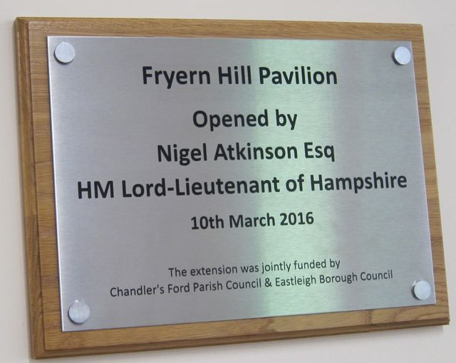 New plaque: official opening of the Fryern Pavilion extension.