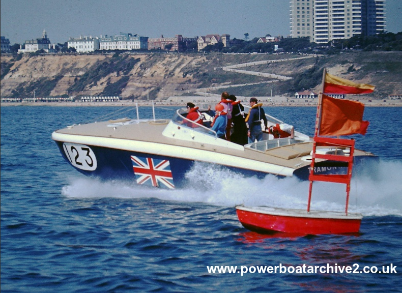 Photographs from Ian & Christian Toll : CI & II : TRAMONTANA II (1967) 4. Image via Powerboat Archive, Graham Stevens.
