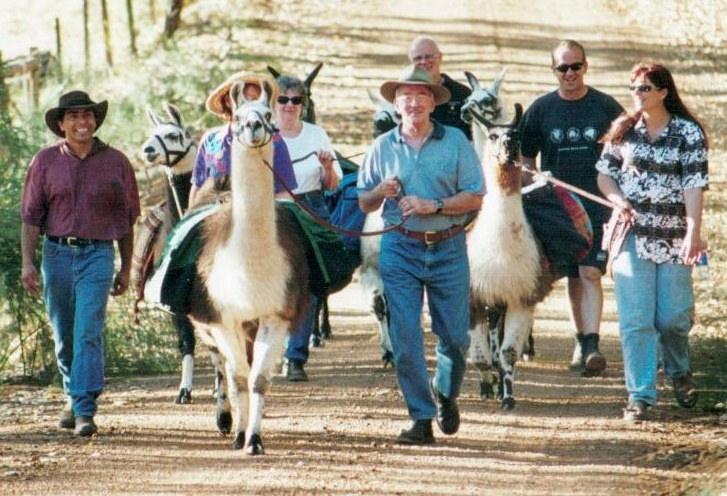 Llama Walk January 25th. 2002 – Doug Clews Centre Front - my wife, Wyn Clews, in white top and sunglasses (Photo by Wendy F)