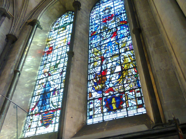 Some of Salisbury Cathedral's stained glass windows
