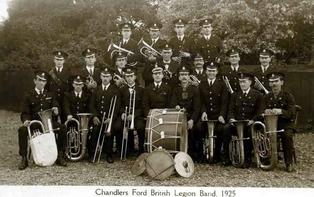 Chandler's Ford British Legion Band - 1925. My Dad was in the second row, far right with a trumpet. Roger Whte image