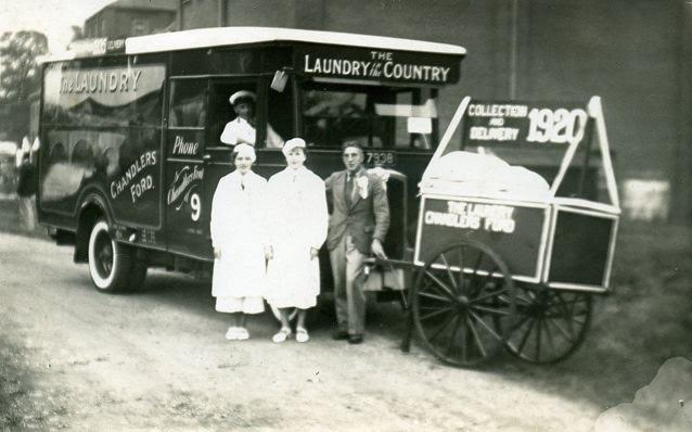 1920 - The Laundry in the Country, Chandler's Ford. My father (in smart uniform) was the driver.