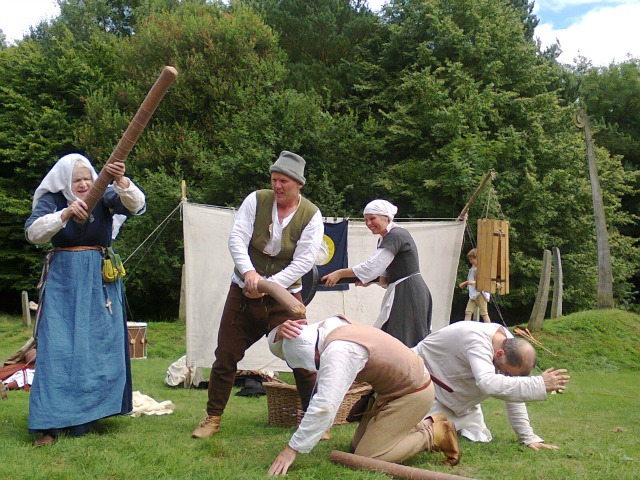 The denouement of The Miller's Tale as performed at the Medieval Weekend