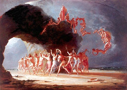 Come unto these yellow sands. A painting by Richard Dadd about 1824 when he was in Broadmoor Hospital suffering from schizophrenia.