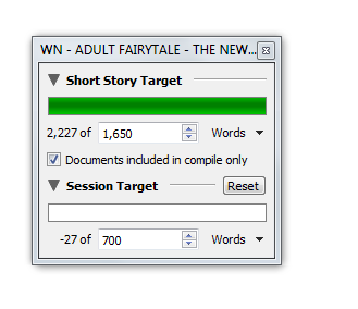 Using project targets for a backwards count as I cut a story to size. Note the negative figure at the bottom.