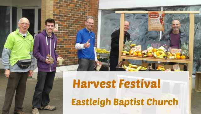 Eastleigh Baptist Church celebrates Harvest Festival and gives away fruits for local people.