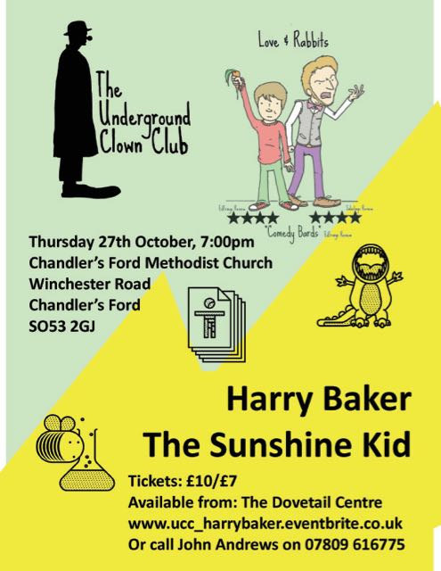 Harry Baker, the 5* award winning Sunshine Kid, is coming to Chandler's Ford Methodist Church on Thursday 27th October 2016.