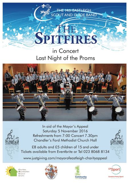 "Spitfires in Concert - Last Night of the Proms 5 Nov 2016 at Chandler's Ford Methodist Church. 14th Eastleigh Scout and Guide Band ""The Spitfires""."