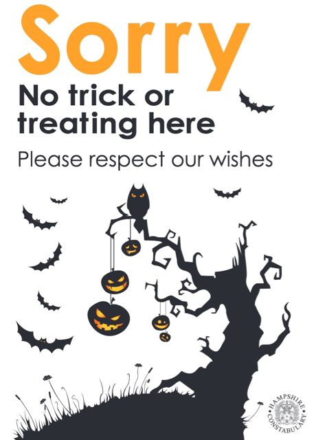 No trick or treat poster Eastleigh Borough Council