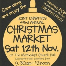 Joint Charities 43rd Christmas Market: Saturday 12th November 2016 at Methodist Church Hall