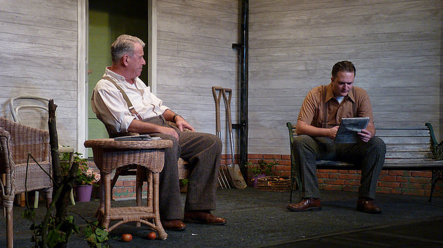Father and Son but still waters run deep here. All My Sons - performed by Chameleon Theatre Company, Chandler's Ford.
