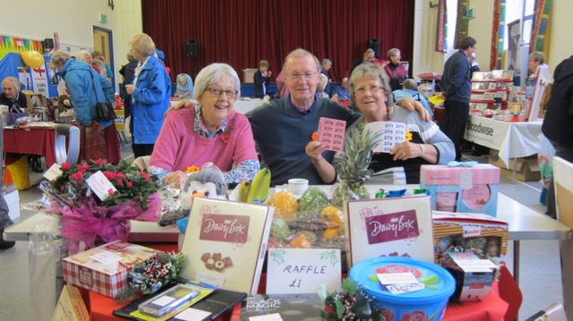 The brilliant raffle team: Val Jolley, Paul Haiden, Anne Scorey.