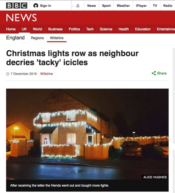 BBC news: Christmas lights row as neighbour decries 'tacky' icicles.