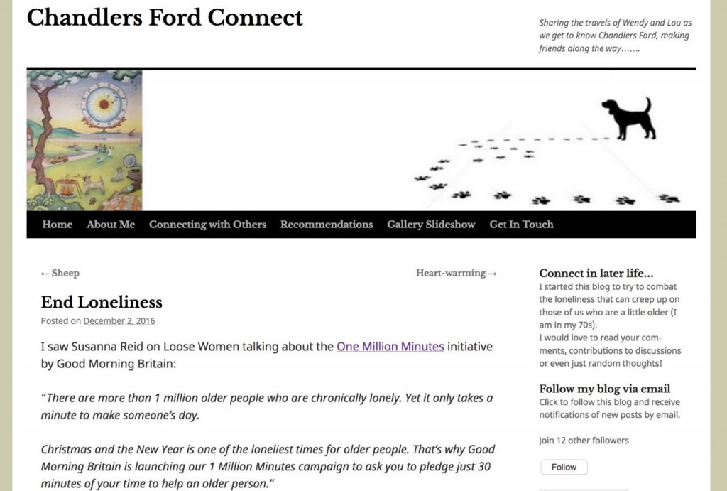 Wendy writes her experiences in Chandler's Ford in her blog.