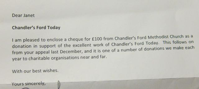 Chandler's Ford Today donation of £100 from Methodist Church of Chandler's Ford.